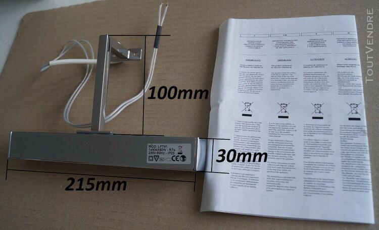 Applique d'éclairage type fixe - acier chromé - 230v - 60w