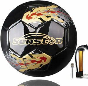 Ballon De football Cuir PU Taille Standard 5 Noir//blanc Mixte IdeaL Parc Jardin