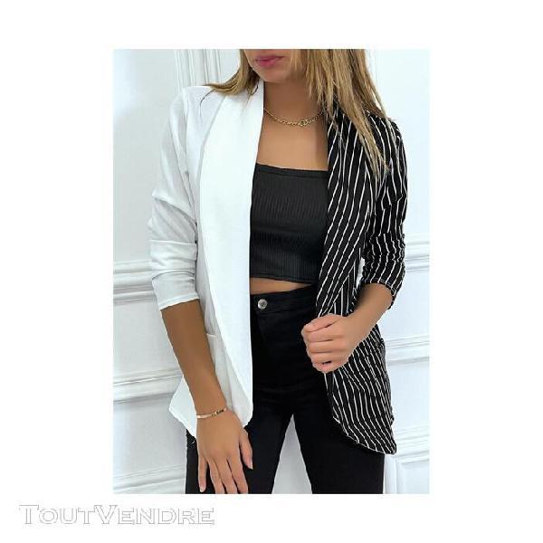 Blazer veste bicolore unie blanche rayures verticales femmes