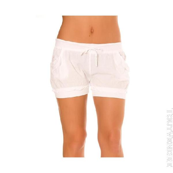 Mini short blanc elastiques poches femmes