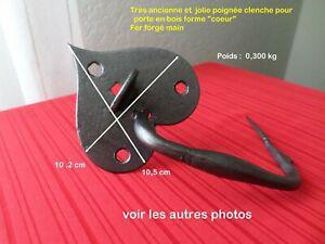 """Ancienne poignee fer forge """"coeur"""" pour porte-"""