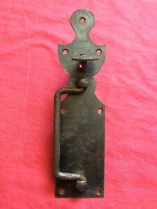 Clenche de porte à pousse ancienne en fer forgé xixe belle