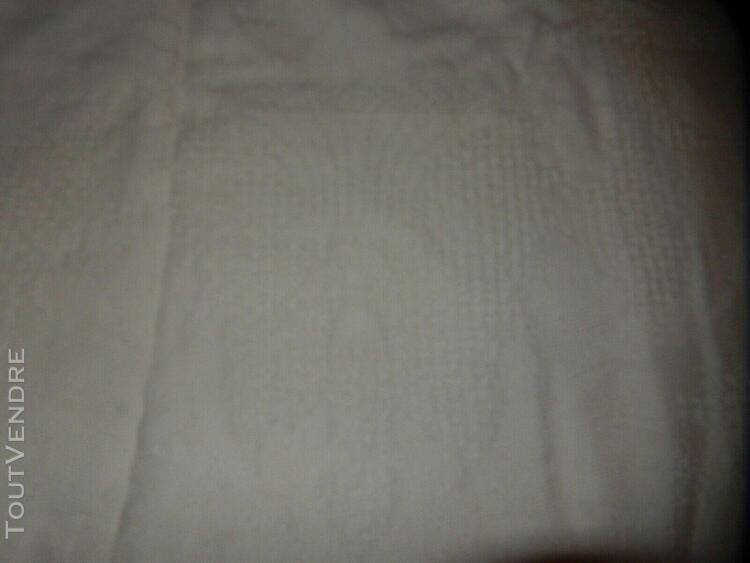 Ancien couvre lit dessus canapé coton blanc franges