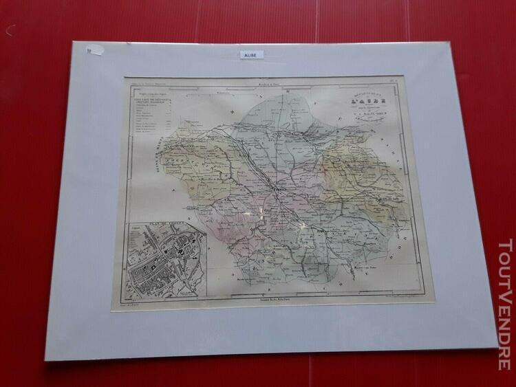 Carte ancienne de l' aube par malte brun encadrée