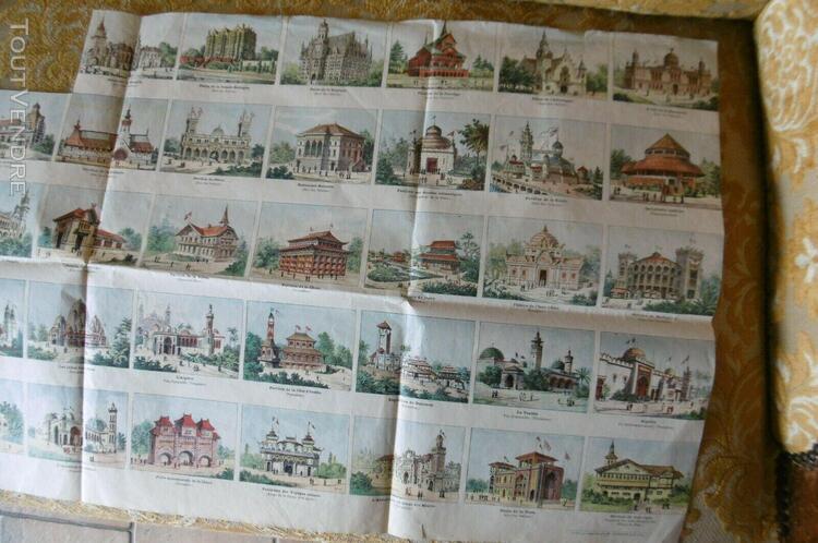 planche de 50 images pavillons exposition universelle 1900