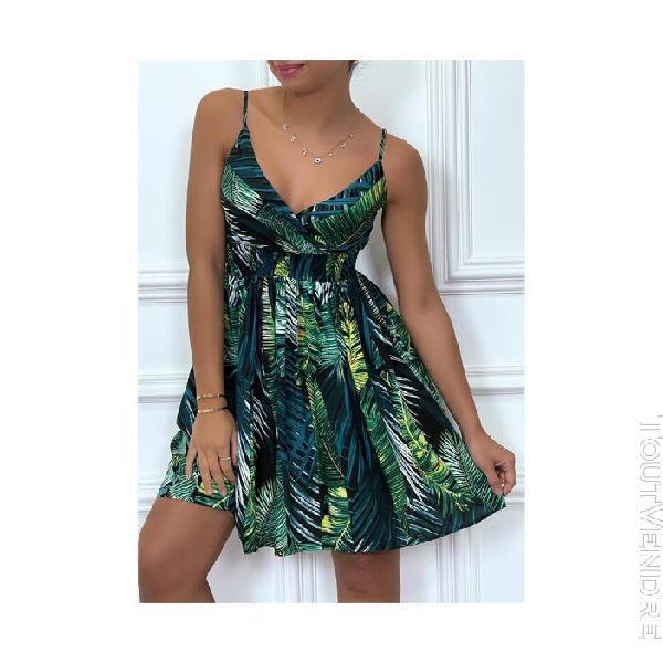 robe courte verte froncée taille motif nature feuilles