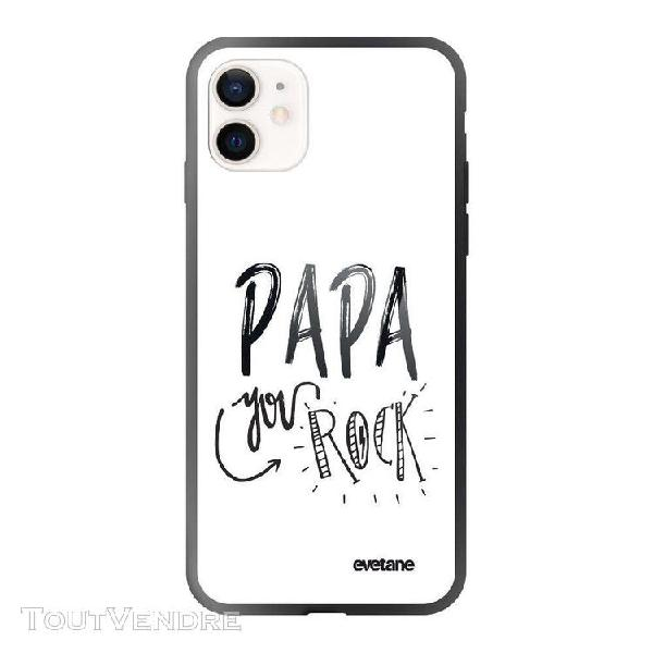 Coque iphone 12 mini soft touch effet glossy noir papa you r
