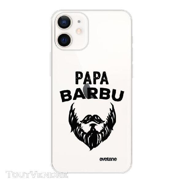 Coque iphone 12 mini souple transparente papa barbu motif ec