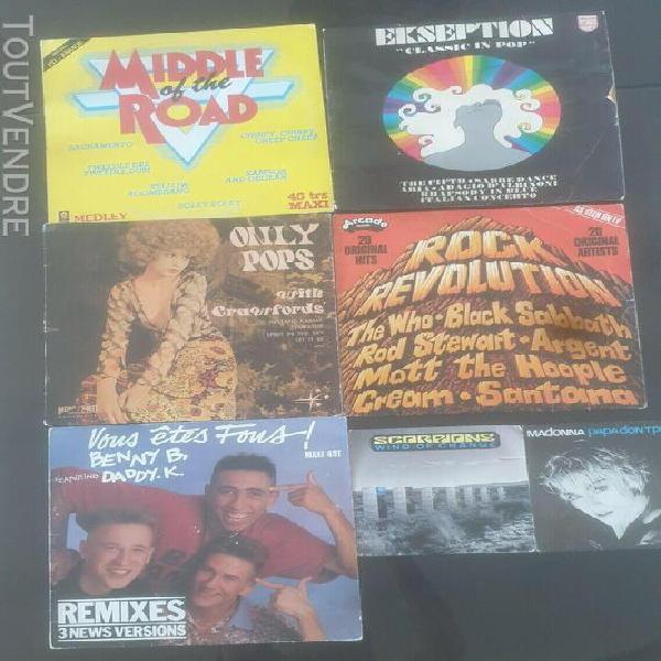 Lot de disques vinyles 5 33t et 2 45t pop rock compilation l