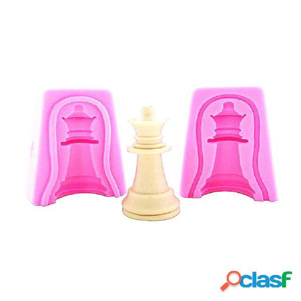 3d 12 pièces jeu d'échecs comestible silicone fondant moule bricolage pâte à sucre moule gâteau topper