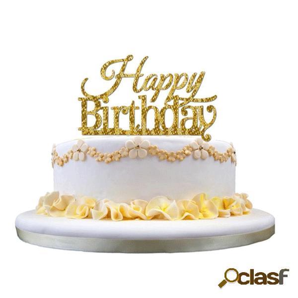 Honana cf-ct03 joyeux anniversaire gâteau en acrylique topper golden shining party cake decoration