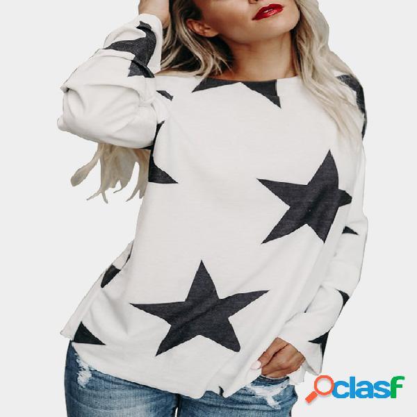 White star pattern round neck long sleeves t-shirt