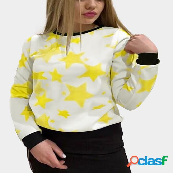 White star print round neck long sleeves sweatshirt