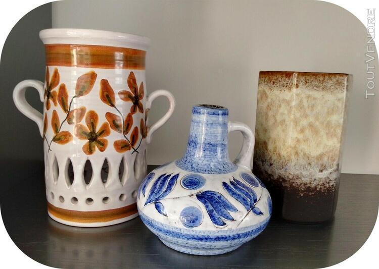 Vases et photophore en faïence vernissée