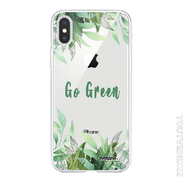 Coque iphone xs max souple transparente go green motif ecrit