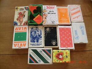 Lot de 12 jeux de cartes publicitaires occasion