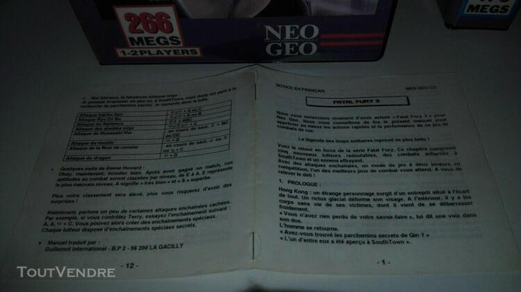 Notice française originale jeu neo geo aes et ou cd fatal