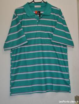 Polo vert à rayures grises et blanches taille xxl