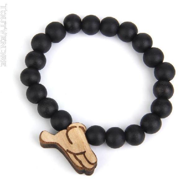 Sharplac perles en bois signe de la main bracelet pendentif