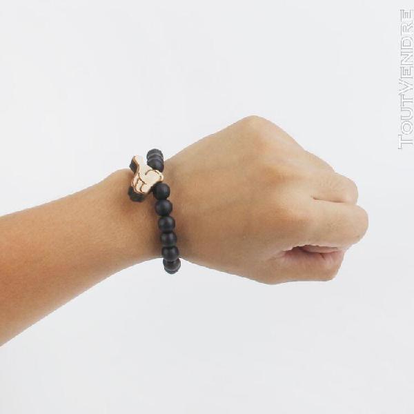 Gazechimp perles en bois signe de la main bracelet pendentif