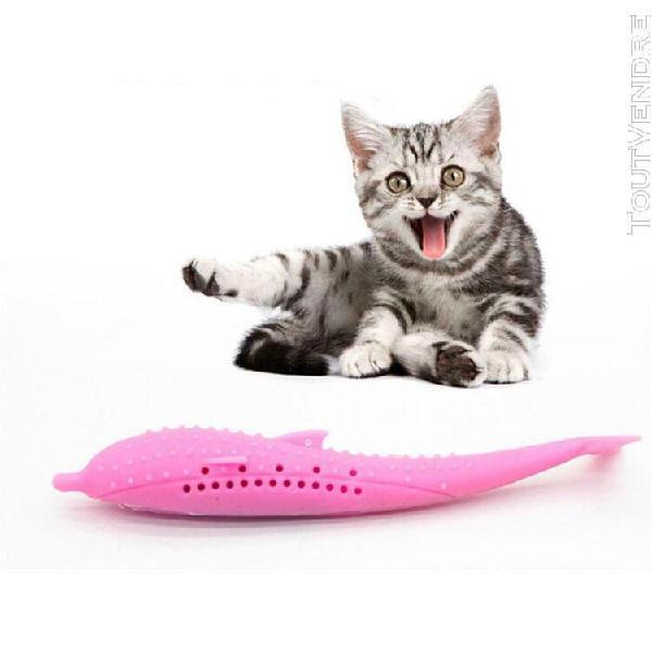 Jouet de chat de poisson a la menthe en silicone souple joue