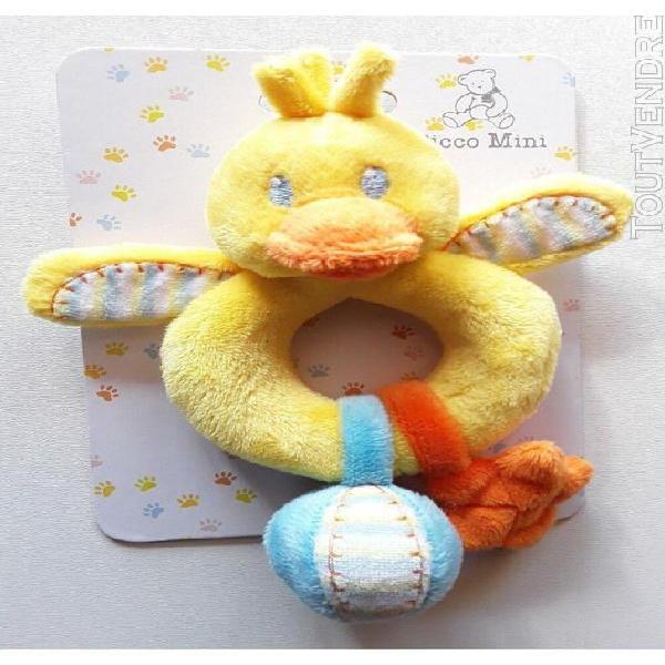 Doudou peluches canard picco mini jaune bleu et orange