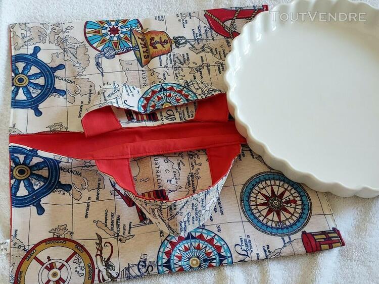 Sac en tissu imprimé pour transport de tarte ou gâteau