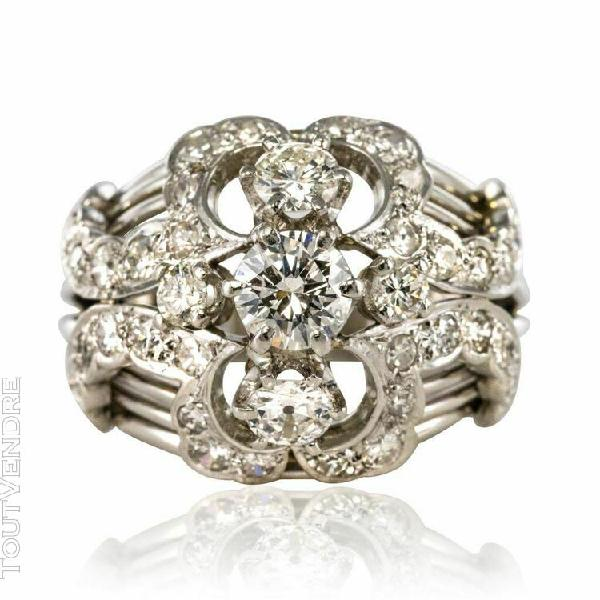 Bague dôme vintage diamants or blanc vintage