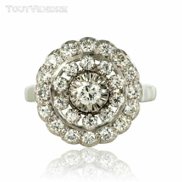 Bague ronde diamants or blanc platine vintage bijoux ancie
