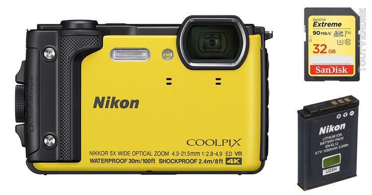Nikon w300 compact 16 mpix jaune + 32gb sd card + en-el12 ba