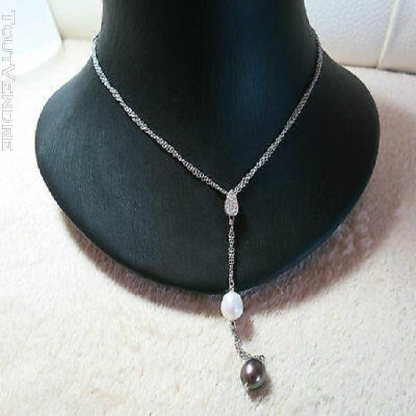 Tour de cou moderne or blanc et diamants / necklace in 18 k