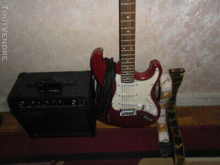 Guitare electrique + amplificateur + diaposon + sangles en t