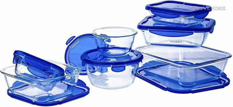 Pyrex – cook&go – lot de 7 boîtes en verre avec