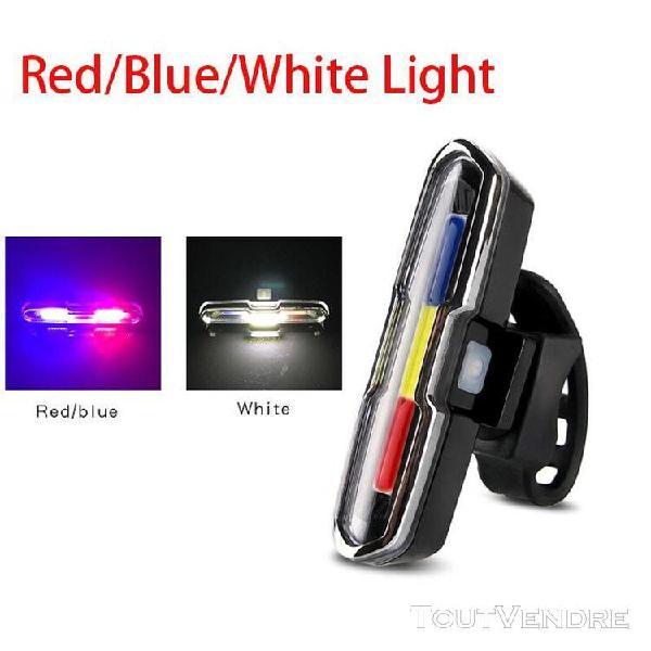 Rouge blanc bleu - feu arrière de vélo à led rechargeable