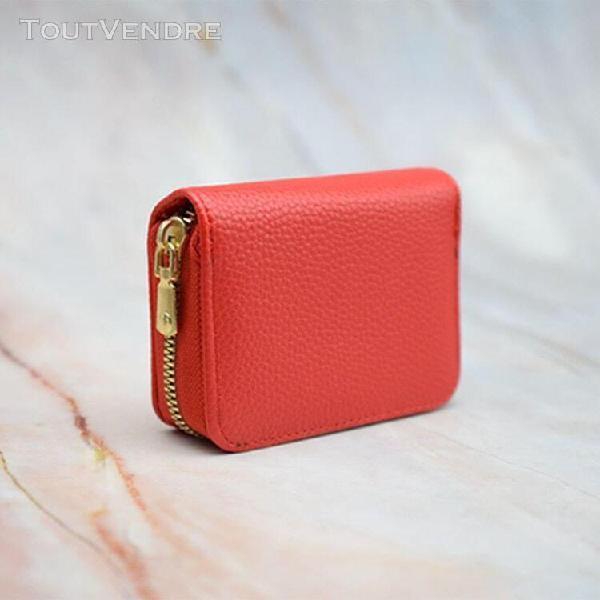 Rouge de type a - porte-cartes en cuir pu pour hommes et fem