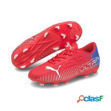Puma ultra 4.3 fg/ag faster football - rouge/blanc enfant
