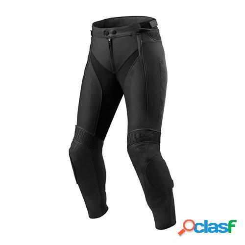 Rev'it! xena 3 lady pants, pantalon moto en cuir femmes, noir courtes