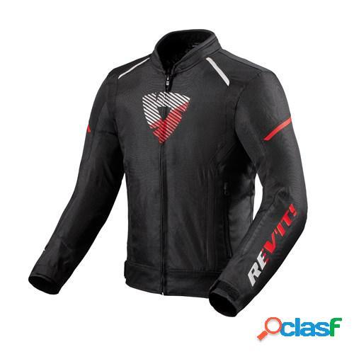 Rev'it! sprint h2o, veste moto textile hommes, noir rouge fluo