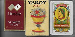 Jeux: cartes: 3 jeux. cartes espagnoles de poker et tarot,