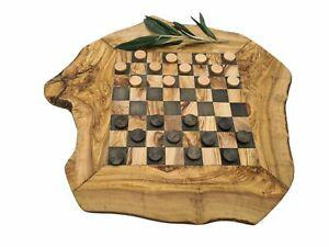 Plateau de jeu de dames en bois d'olivier (8109-1)