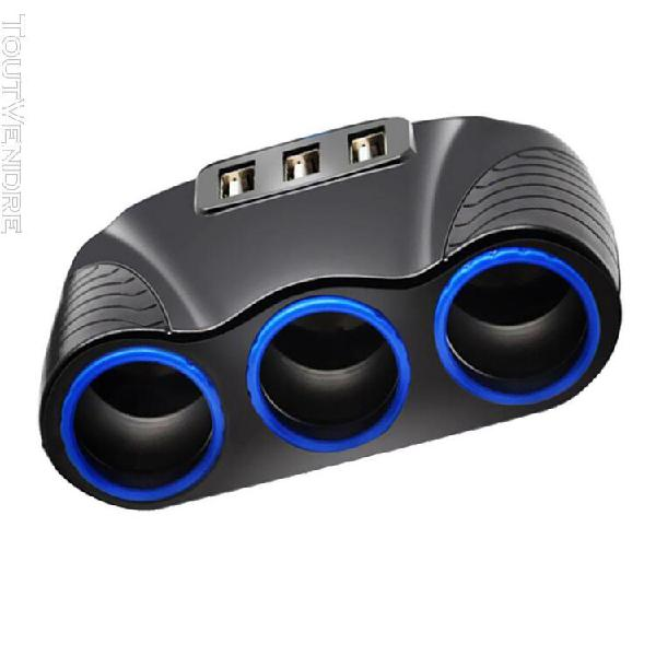 Usb chargeur voiture 3x prise usb + allume cigare 3.1 a 120w