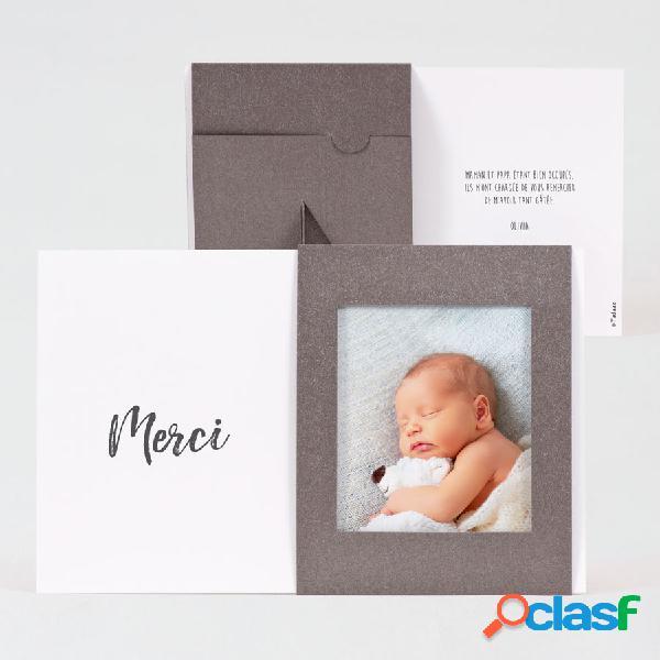 Carte de remerciement naissance cadre gris