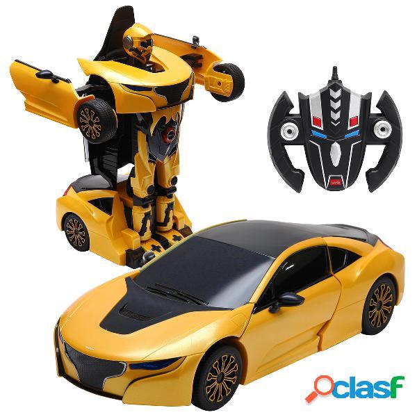 Transformation voiture robot pour enfants télécommandé rechargeable radio commande 2 en 1 jaune