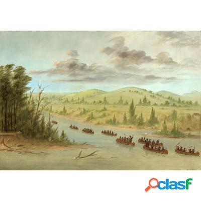 George catlin: l'expedition de la salle en entrant dans le mississippi à canoës le 6 février 1682