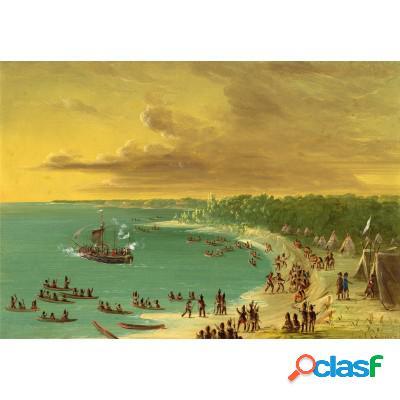 George catlin: première navigation du voilier griffin sur le lac erie le 7 août 1679, 1847-1848
