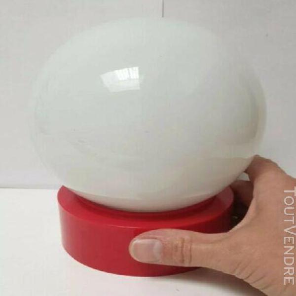 Lampe table vintage verre plastique rouge globe ambiance lum