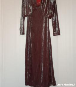 Robe longue et bolero en velours rasé mauve