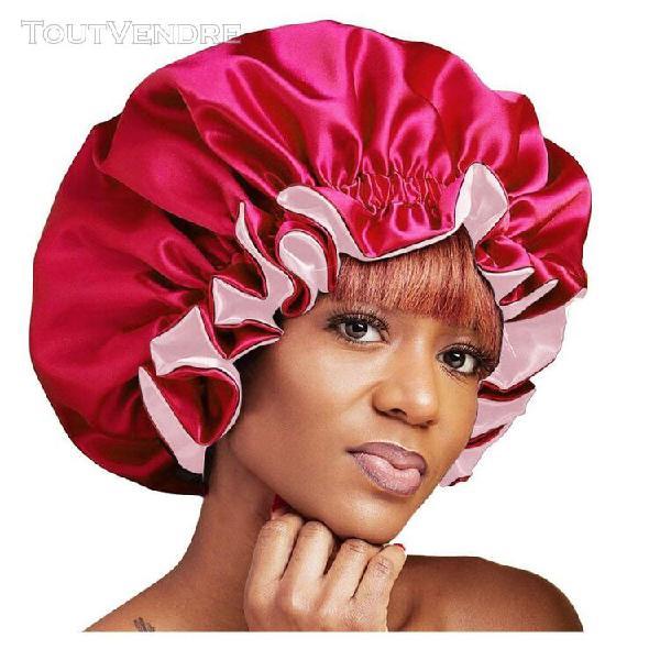 Bonnet de nuit en satin noir pour femmes, grande taille, pou