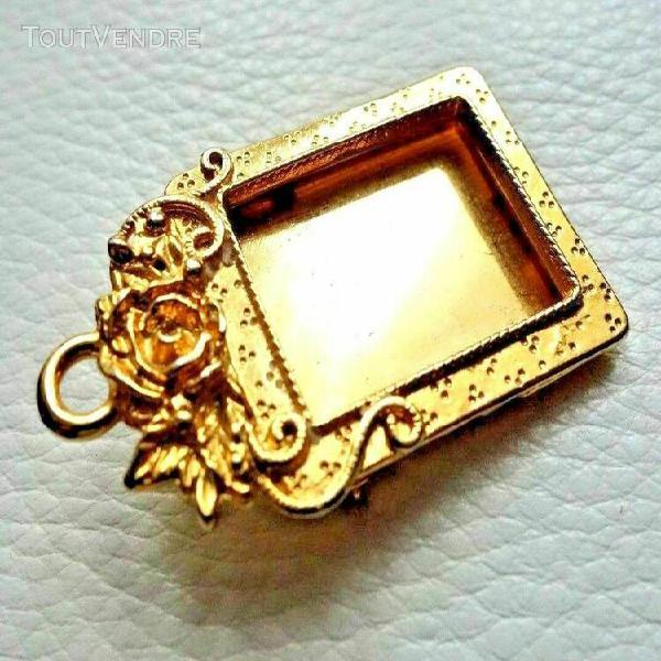 Broche pendentif vintage doré cadre photo rose neuf superbe