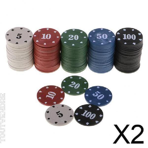 Jetons de jetons de poker de jeu de cartes de casino 2x100 p